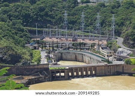 HOA BINH, VIETNAM - AUG 4, 2014: View of Hoa Binh Hydroelectricity Plant. This plant was built from 1979 to 1994 with 8 machines provides 1920 MW, equal to one third of productivity of Vietnam.
