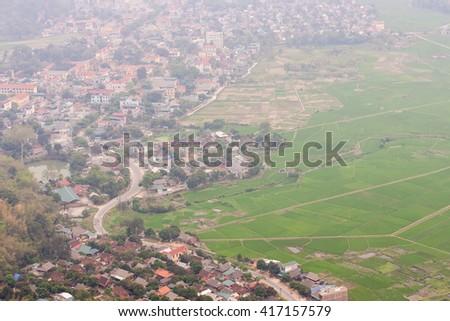 HOA BINH, Vietnam, February 16, 2016 Mai Chau Town, Hoa Binh Province, Vietnam.Hoa Binh is a biggest rice stock in north Vietnam