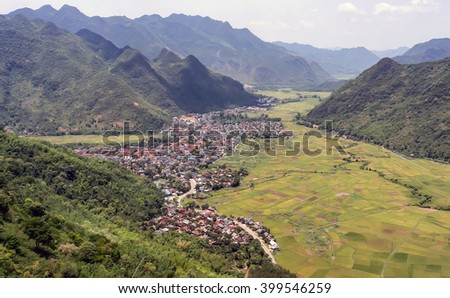 HOA BINH, Vietnam, February 11, 2016 Mai Chau Town, Hoa Binh Province, Vietnam, seen from above