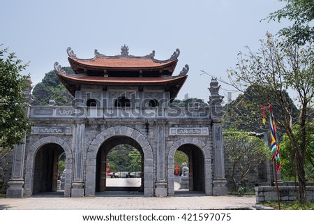 Hoa Lu, Vietnam - Apr, 20, 2015: Tourists visiting temple in Hoa Lu, Vietnam