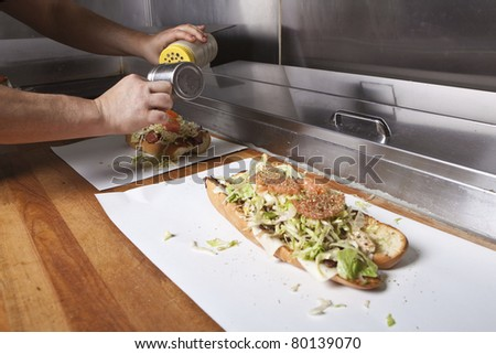 Hoagie Open Faced Submarine Sandwich - stock photo