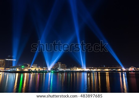 Hobart, Australia-June 12, 2014. Electronic artist Rafael Lozano-Hemmers stunning interactive installation Articulated Intersect  illuminates the Hobart skies during the 2014 Dark Mofo festival
