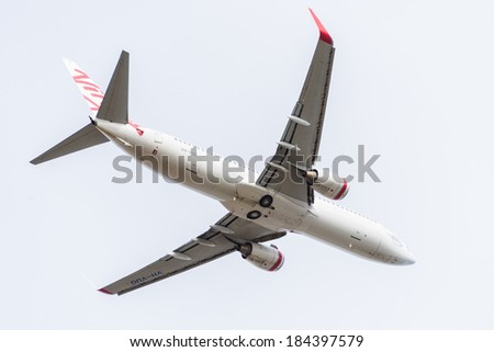 HOBART, TASMANIA/AUSTRALIA, MARCH 20TH: Image of a Virgin Australia passenger airliner taking off from Hobart Airport on 20th March, 2014 in Hobart