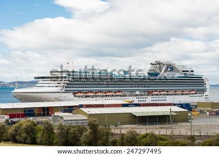 HOBART, TASMANIA/AUSTRALIA, November 18TH: Image of a Diamond Princess Cruise Ship at Hobart Docks on 18th November, 2014 in Hobart - stock photo