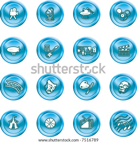 Hobbies and entertainment icon set Icons relating to hobbies and entertainment and pastimes. Raster version. - stock photo