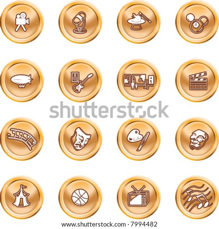 Hobbies and entertainment icon set Icons relating to hobbies and entertainment and pastimes. Raster version - stock photo