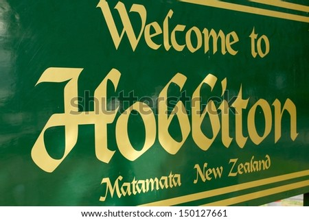 Hobbiton welcome sign, New Zealand. - stock photo