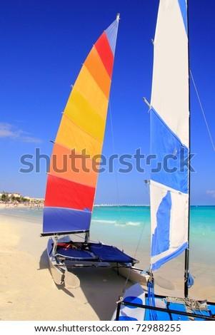 Hobie Cat in Mayan Riviera Playa del Carmen mexico Caribbean beach - stock photo