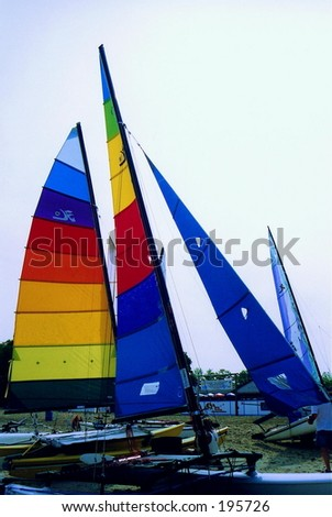 hobie cat sails taken at beach where races were being held. - stock photo