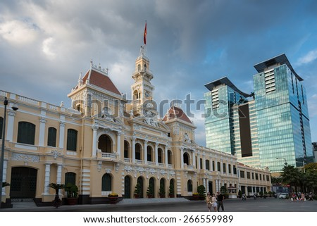 HOCHIMINH city, VIETNAM - FEB 27,2015 : The Hochiminh city hall is a colonial architecture style in vietnam - stock photo