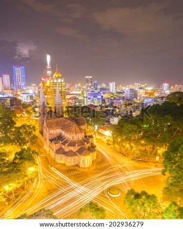 HOCHIMINH CITY, VIETNAM - MAY 25: Notre Dame Cathedral at city center in Hochiminh city, Vietnam on May 25, 2014. Hochiminh city is the biggest city and economic center in Vietnam. - stock photo