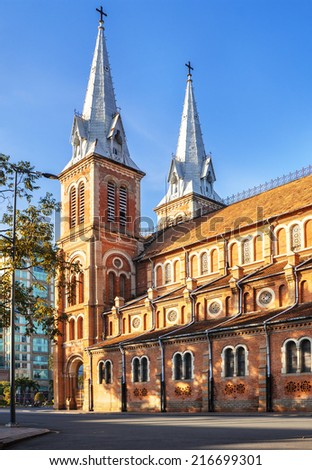 HOCHIMINH CITY, VIETNAM - SEP 02: Notre Dame cathedral in Ho Chi Minh City, Vietnam on Sep 02, 2014. Built in French domination ( 1880) and designed by architecter J. Bourard. - stock photo