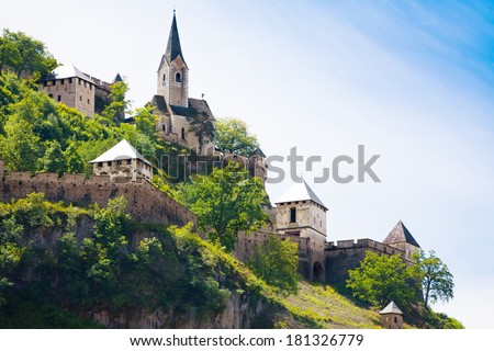 Hochosterwitz castle church and towers on the top part of the castle, Europe,