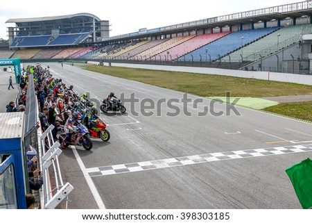HOCKENHEIM, GERMANY-MARCH 26,2016, 1000 km Hockenheim start posing for a Le Mans Start