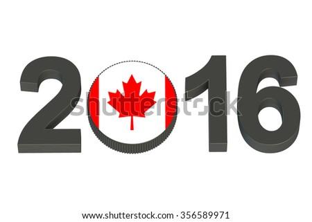 Hockey 2016 Canada concept isolated on white background - stock photo