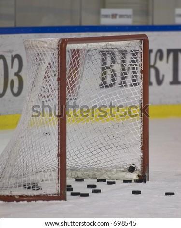 Hockey goal - stock photo