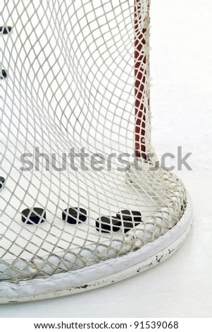 hockey net - stock photo