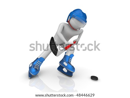 Hockey player cinematic close-up (3d isolated characters on white background, sports series) - stock photo