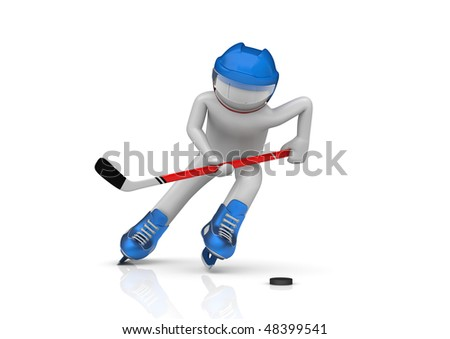 Hockey player close-up (3d isolated characters on white background, sports series) - stock photo