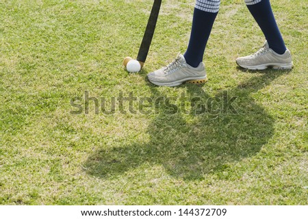 Hockey player in a field