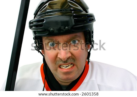Hockey Player in the Penalty Box - stock photo