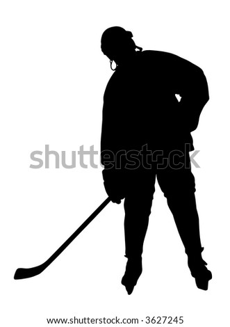 Hockey Player Silhouette. Please, check out my portfolio for other silhouettes. - stock photo