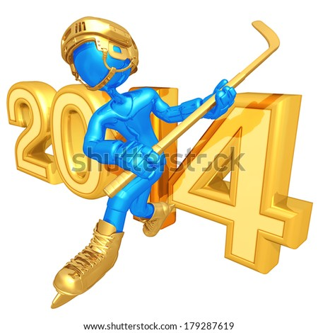 Hockey Player With Year - stock photo