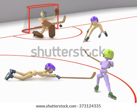 hockey players puppet men play on ice one striker shooting puck goalkeeper catches and two defenders  3D illustration cutout background - stock photo