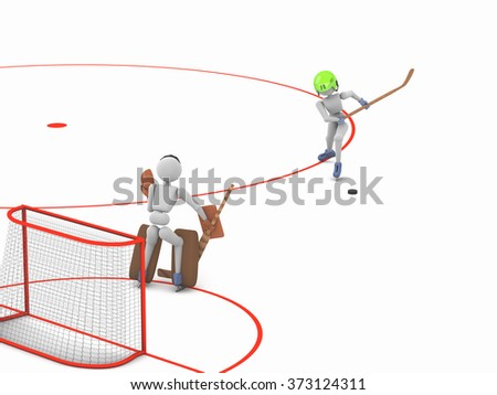hockey players puppet men play on ice one striker swung at the puck goalkeeper ready to catch  3D illustration cutout background - stock photo