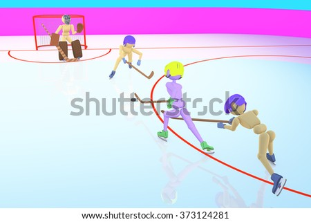 hockey players puppet men play on ice the attacker attacks gates with the goalkeeper and two defenders on a blue background 3D illustration - stock photo