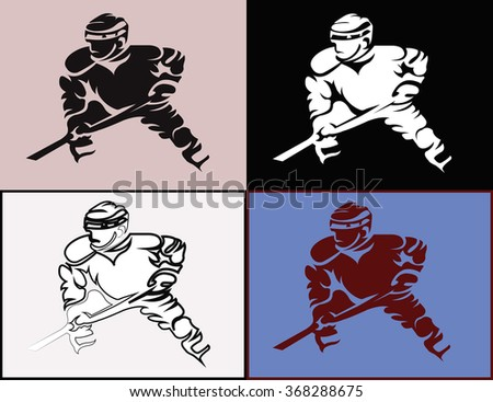 Hockey Players Silhouettes with Hockey Stick or Club in Hand. Sportswear Mascot for a Logotype. Digital raster Illustration.