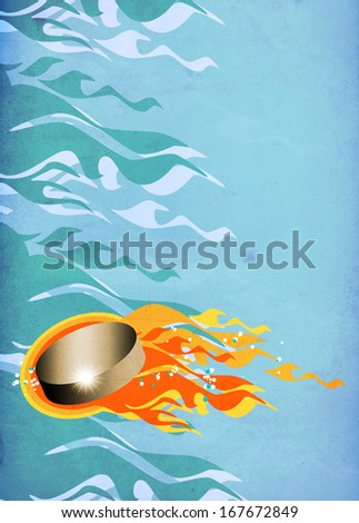 Hockey Puck in Fire invitation poster or flyer background with space - stock photo