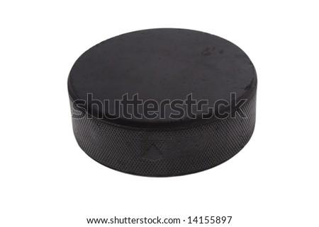 hockey puck isolated on white background - stock photo