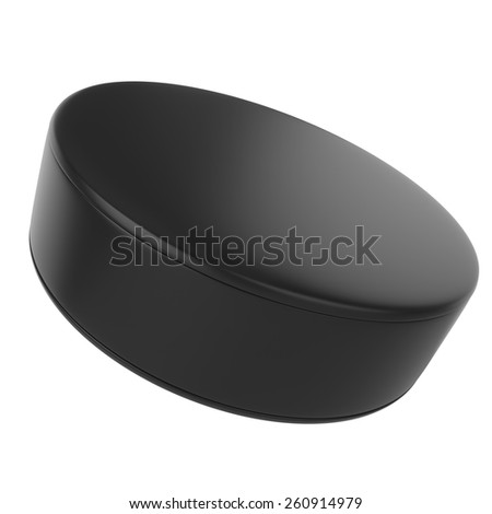 Hockey puck isolated on white background. 3d illustration high resolution - stock photo
