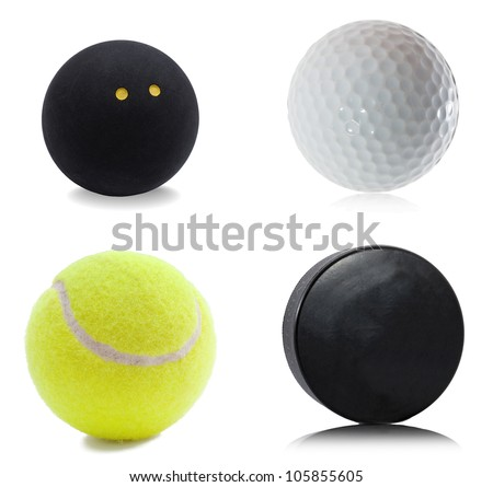 Hockey puck, squash, tennis and golf ball isolated on white background - stock photo