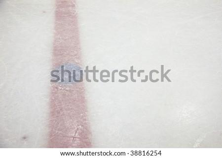Hockey Rink Red Line - stock photo