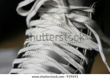Hockey skate, angled close-up, laced