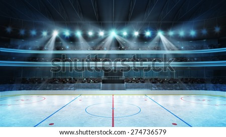 hockey stadium with fans crowd and an empty ice rink sport arena rendering my own design - stock photo