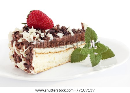 hocolate cake with the strawberries on white background - stock photo