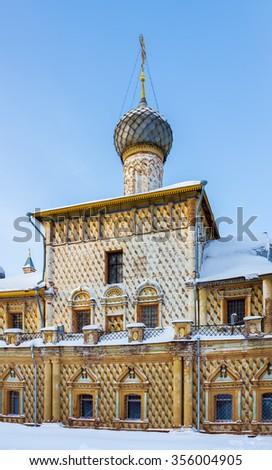 Hodegetria Church in the Rostov Kremlin in Rostov Veliky in the winter. - stock photo