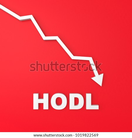 HODL - word in bitcoin trading market data on red background chart. Virtual cryptocurrency concept 3D render