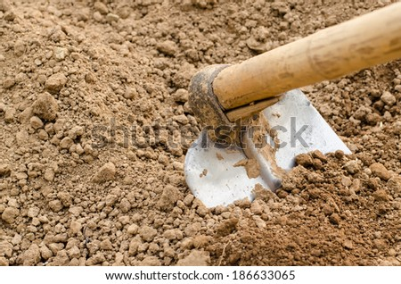 Hoe or digging tool, soil prepared vegetable bed for sowing. - stock photo