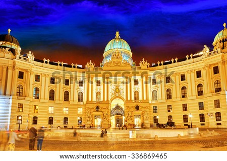 Hofburg Palace seen from Michaelerplatz, wide-angle view at dusk.Vienna.Austria. - stock photo