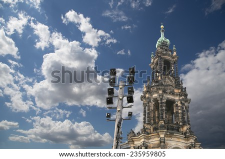 Hofkirche or Cathedral of Holy Trinity - baroque church in Dresden, Sachsen, Germany   - stock photo
