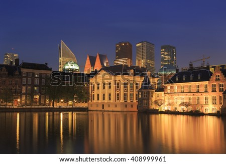Hofvijver, Mauritshuis and Binnenhof Palace - Dutch Parlament in the Hague (Den Haag), the Netherlands. - stock photo