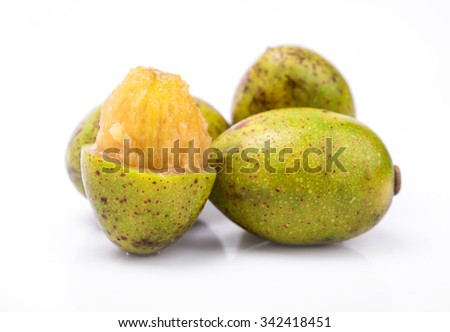 Hog Plum ( Spondias pinnata Kurz) on white background. - stock photo