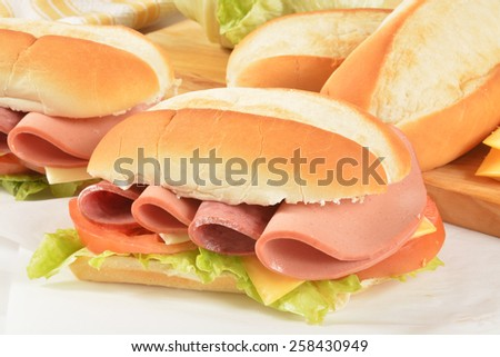 Hogie sandwiches with salami, bologna and cheeses on waxed paper - stock photo