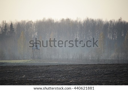Hogs watchtower on a spring dawn, hunting tower - stock photo