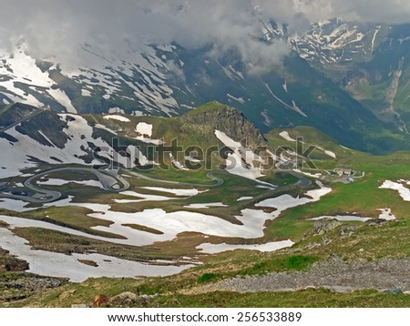 Hohe Tauern, AUSTRIA - 27 June 2014: Landscape alongside the Grossglockner High Alpine Road.   - stock photo