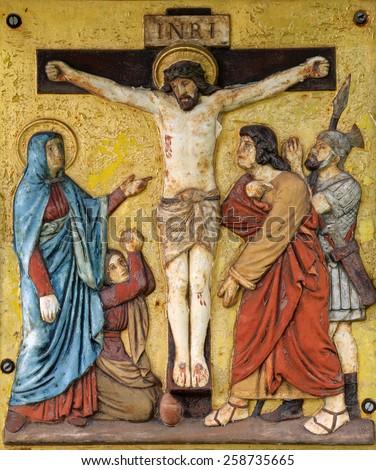 HOHENBERG, GERMANY - MAY 06: Jesus dies on the cross, 12th Stations of the Cross in Hohenberg, Germany on May 06, 2014. - stock photo